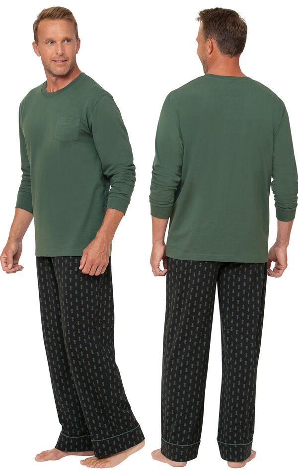 Jersey Long-Sleeve Men's Pajamas - Geometic Trees image number 1