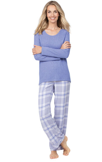 World's Softest Flannel Pullover Pajamas - Lavender Plaid
