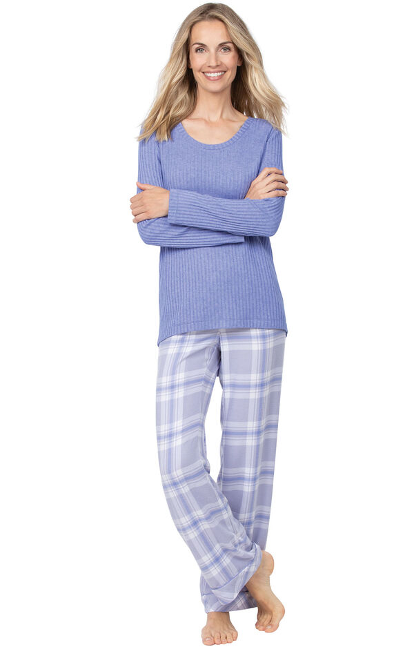 Model wearing Lavender Plaid Thermal-Top PJ for Women image number 1