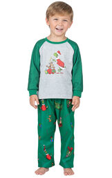 Model wearing Green and Gray Grinch PJ for Toddlers