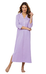 Model wearing Purple with White Polka Dots Gown for Women image number 0