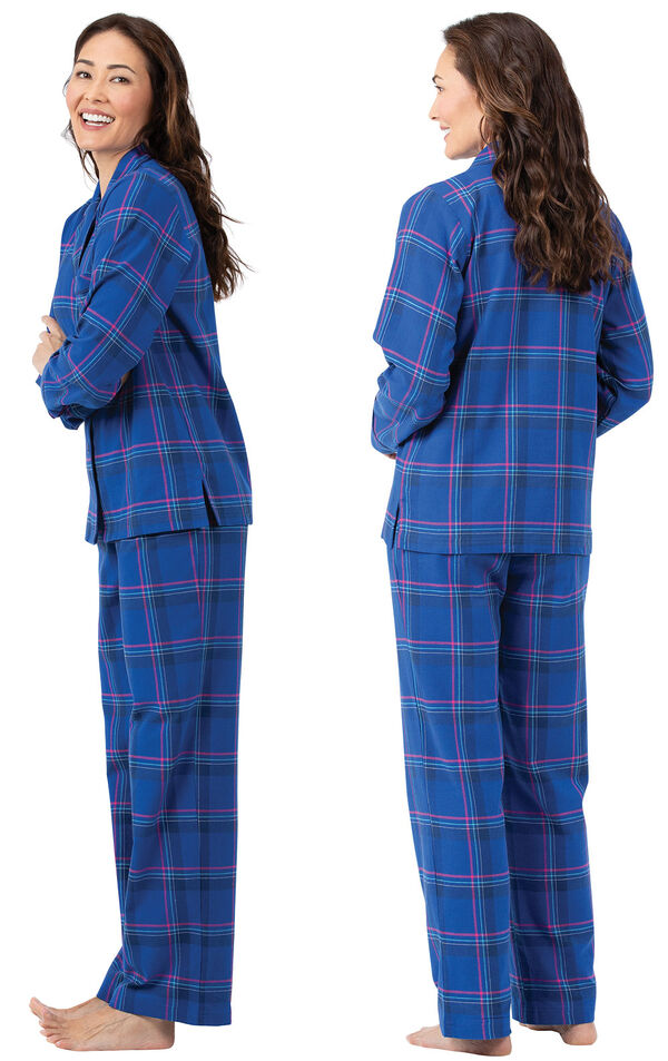 Model wearing Indigo Plaid Flannel Button-Front PJ for Women, facing away from the camera and then to the side image number 1