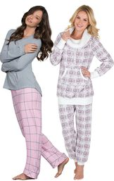 Models wearing World's Softest Flannel Pajamas - Pink and Chalet Shearling Rollneck Pajamas.