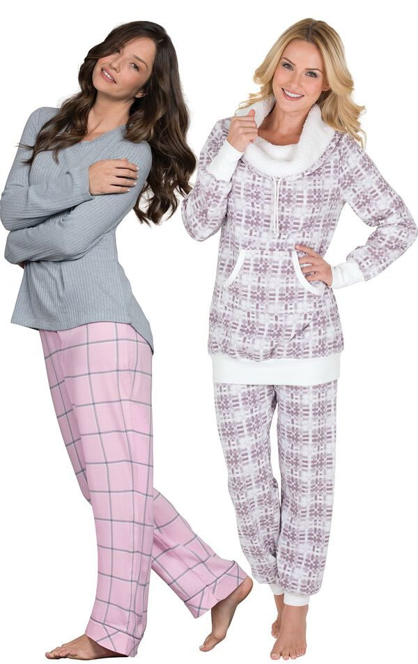 Models wearing World's Softest Flannel Pajamas - Pink and Chalet Shearling Rollneck Pajamas. image number 0