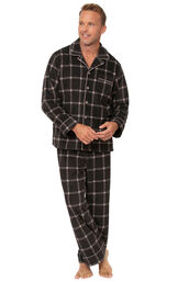 Men's Button Front Fleece Pajamas - Charcoal Check image number 0