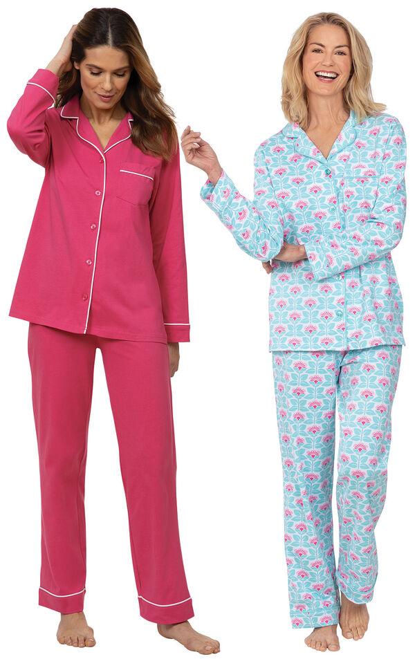 Models wearing Solid Jersey Boyfriend Pajamas - Bold Pink and Modern Floral Boyfriend Pajamas image number 0