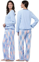 Model wearing Blue and Pink Argyle PJ - Petite for Women, facing away from the camera and then to the side image number 1