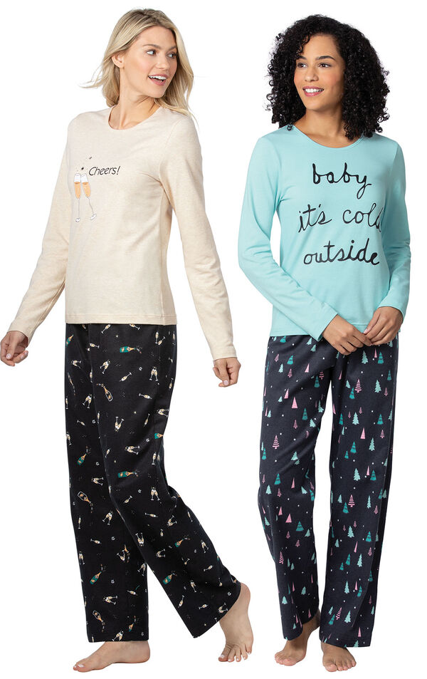Addison Meadow|PajamaGram Bright Trees and Champagne Flannel PJs image number 0