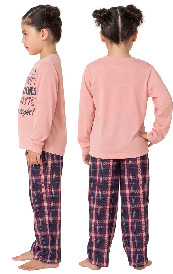Model wearing Plum Plaid PJ with Graphic Tee for Youth, facing away from the camera and then facing towards the side image number 1