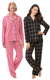 Charcoal Check and Candy Cane Fleece Boyfriend PJs image number 0