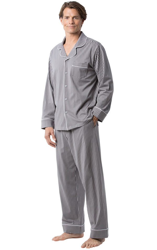 Model wearing Charcoal Gray and White Stripe Button-Front PJ for Men image number 2