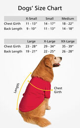 """Dog Sizes XS (Chest Girth 11-13""""/Back Length 9-10""""), SM (Chest Girth 14-17""""/Back Length 11-13""""), MD (Chest Girth 18-22""""/Back Length 14-18""""), LG (Chest 23-28""""/Back Length 19-21""""), XL (Chest 29-34""""/Back Length 22-25""""), XL (Chest 35-39""""/Back Length 26-28"""") image number 4"""