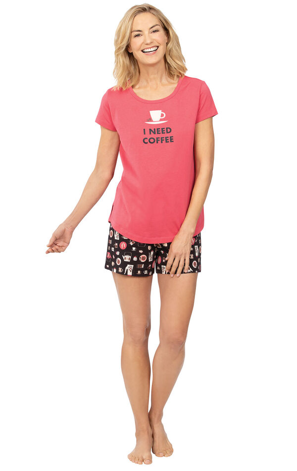 Model wearing Black and Pink Coffee Short Set with Graphic Tee for Women image number 0