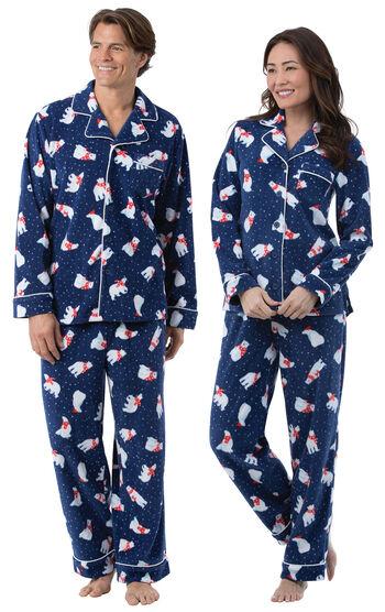 Polar Bear Fleece His & Hers Matching Pajamas