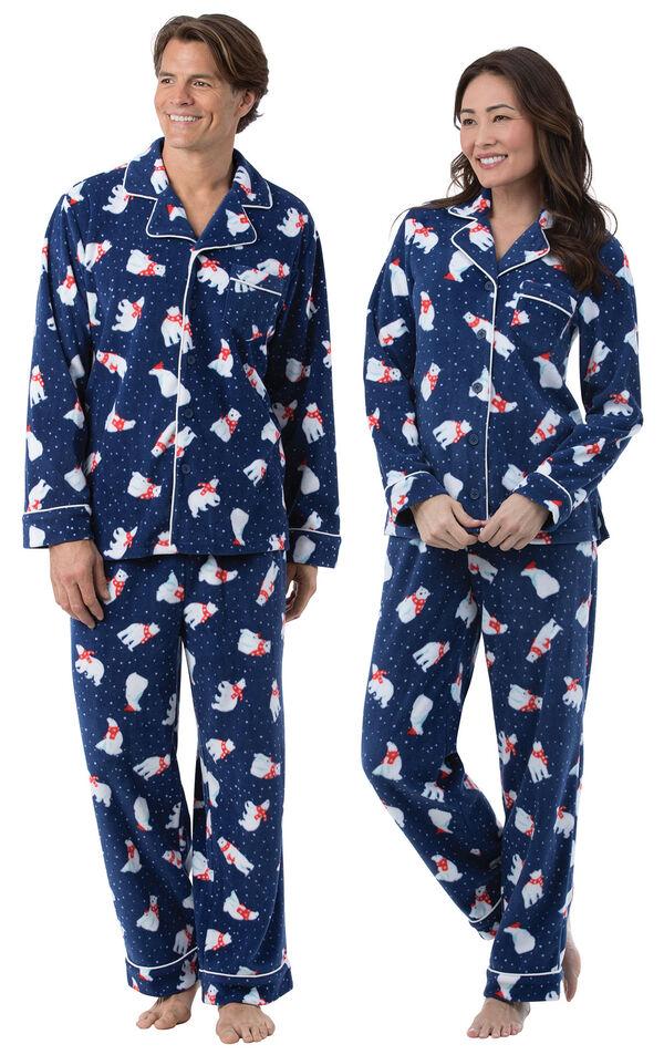 Polar Bear Fleece His & Hers Matching Pajamas image number 0