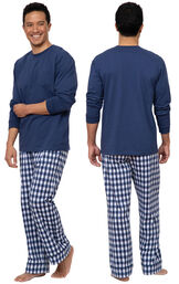 Model wearing Blue Gingham PJ for Men, facing away from the camera and then facing towards the side image number 1