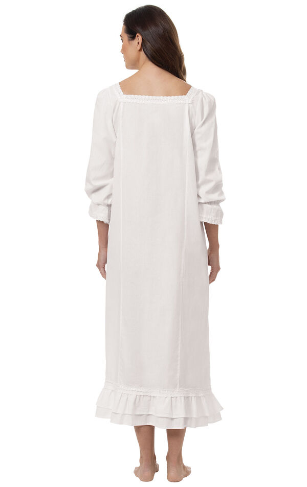Model wearing Martha Nightgown in White for Women, facing away from the camera image number 1