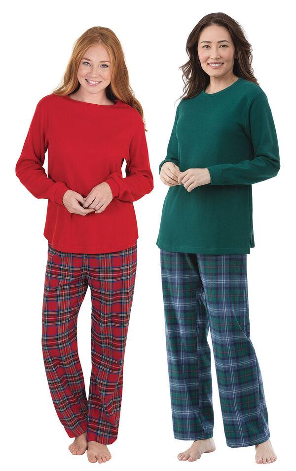 Holiday Plaid Thermal-Top Pajama Gift Set - Petite image number 0