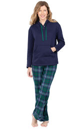 Green and Blue Plaid Heritage Plaid Hooded Women's Pajamas image number 0
