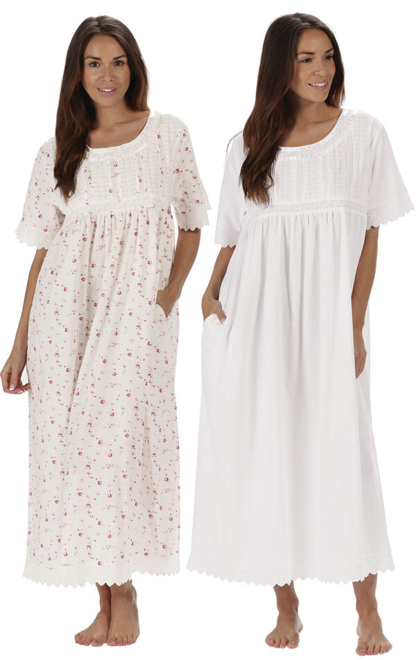 Models wearing Helena Nightgown - Vintage Rose and Helena Nightgown - White image number 0