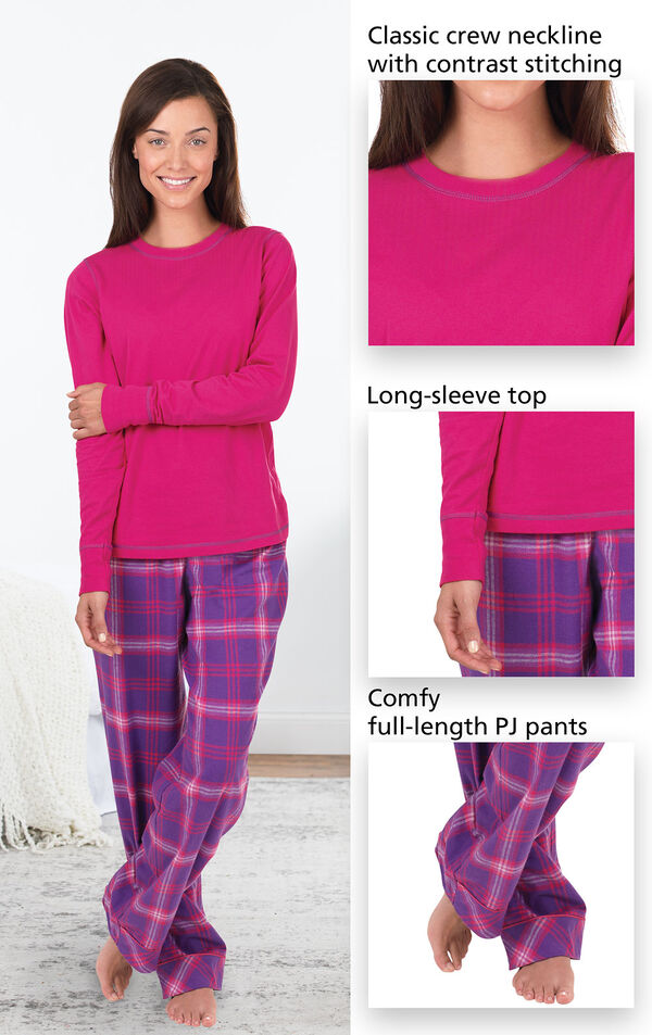 Close-ups of features of Raspberry Plaid Jersey-Top Flannel Pajamas which include a classic crew neckline with contrast stitching, long-sleeve top and comfy, full-length PJ pants image number 2