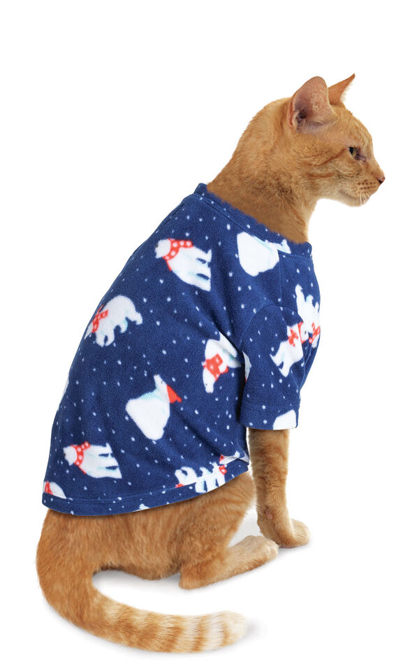 Model wearing Navy Polar Bear Fleece PJ for Cats image number 0