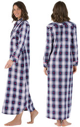 Model wearing Dark Blue Snowflake Plaid Gown for Women, facing away from the camera and then to the side image number 1