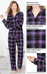 Close-ups of Modern Plaid Boyfriend Flannel Pajamas notched collar and chest pocket, classic button-front boyfriend style and cuffs with pretty black piping image number 3
