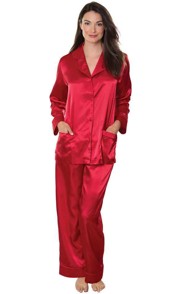 Model wearing Red Satin Button-Front Pajamas for Women image number 0