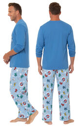 Model wearing Light Blue Greateful Dead Men's Pajamas, facing away from the camera and then facing to the side image number 1