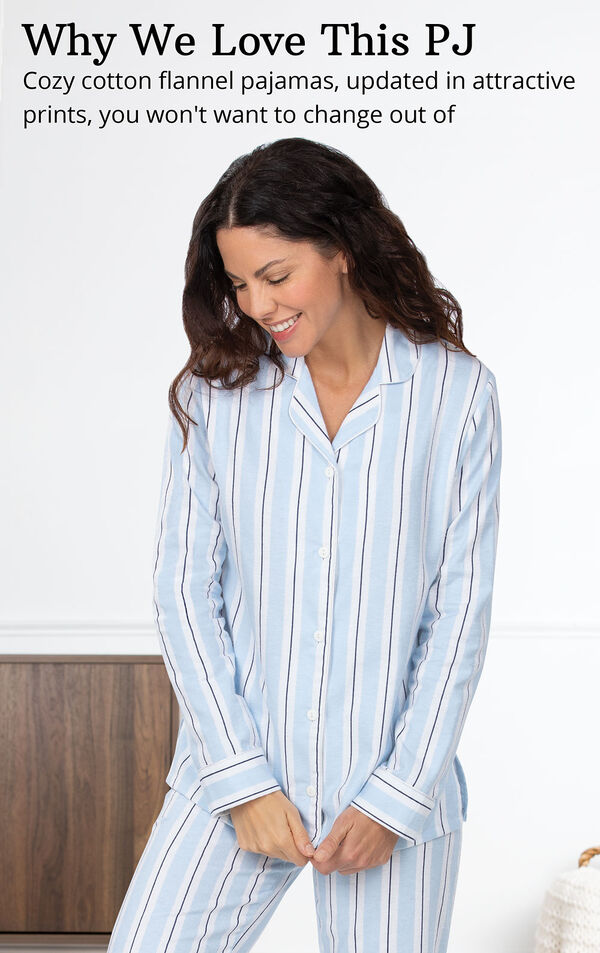 Blue Stripe Flannel Button-Front PJ for Women image number 3