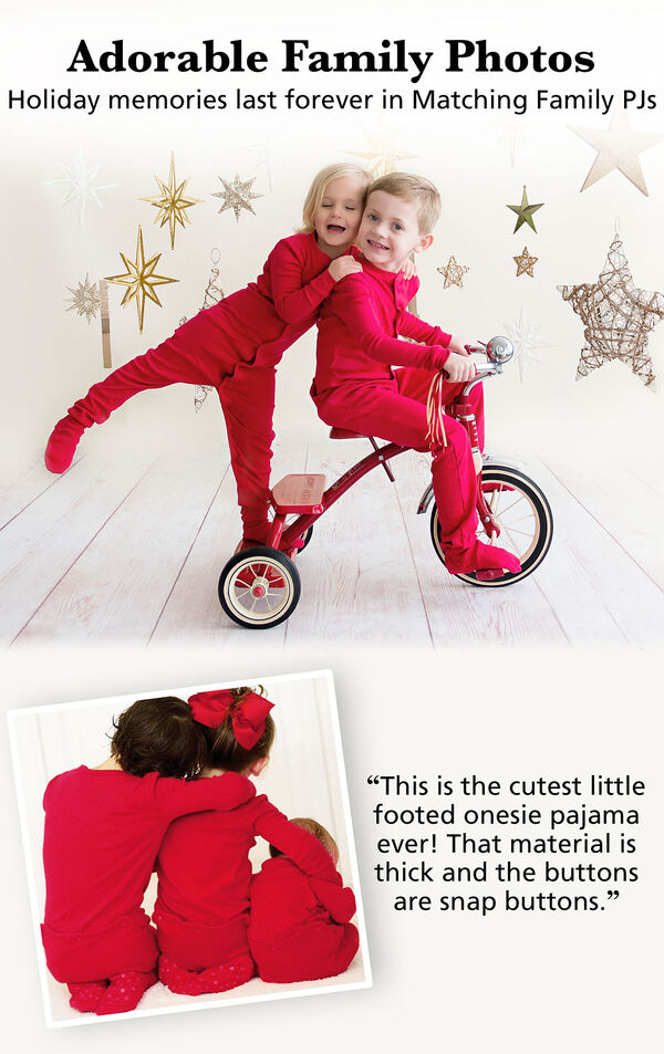 "Parents and kids wearing Red Dropseat Matching Family Pajamas. Headline: Adorable family photos; Holiday memories last forever in Matching Family PJs. Customer Quote: ""This is the cutest little footed onesie pajama ever! That material is thick and the but image number 3"
