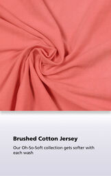 Coral fabric with the following copy: our oh-so-soft collection gets softer with each wash image number 3