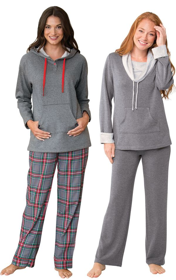 Models wearing Gray Plaid Hooded Pajamas and World's Softest Pajamas - Charcoal. image number 0