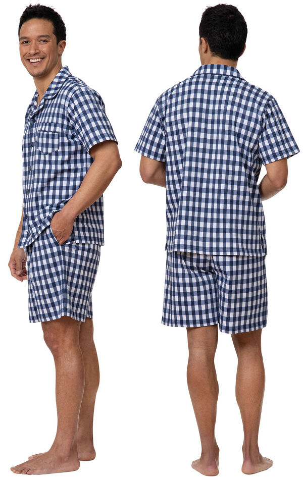 Model wearing Blue Gingham Short Sleeve Button-Front Short Set for Men, facing away from the camera and then facing towards the side image number 1