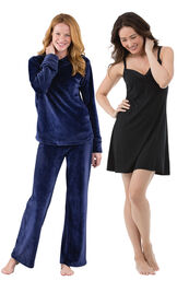 Midnight Blue Tempting Touch PJs and Black Naturally Nude Cami PJs image number 0