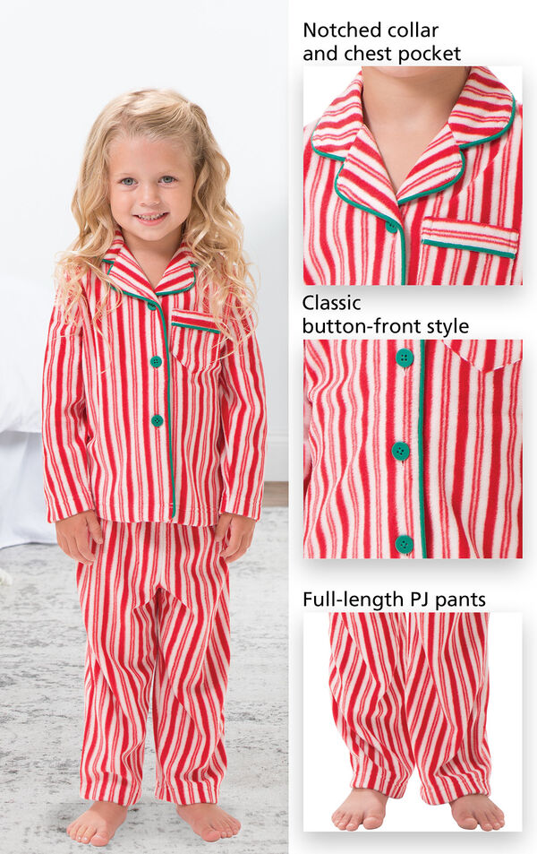 Close-ups of Candy Cane Fleece PJ features which include a Notched collar and chest pocket, classic button-front style and full-length PJ pants image number 2