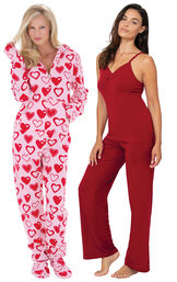 Sweetheart Hoodie-Footie and Red Naturally Nude Cami PJs image number 0