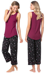 Model wearing Purple and Black Wine Tank PJ for Women, facing away from the camera and then to the side image number 1