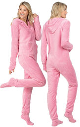 Model wearing Hoodie-Footie - Pink Fleece for Women, facing away from the camera and then to the side image number 1