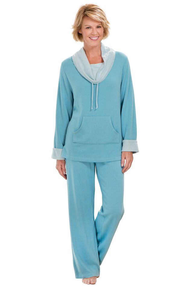 Model wearing World's Softest Teal Cowl-Neck Pajama Set for Women image number 1