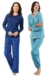Models wearing Indigo Plaid Jersey-Top Flannel Pajamas and World's Softest Jogger Pajamas - Teal. image number 0