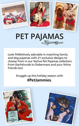 Customer Photos of Owners and Pets wearing matching Pajamas. Snuggle up this holiday season with #PetJammies image number 1