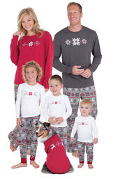 Models wearing Red and Gray Fair Isle Matching Family Pajamas image number 0