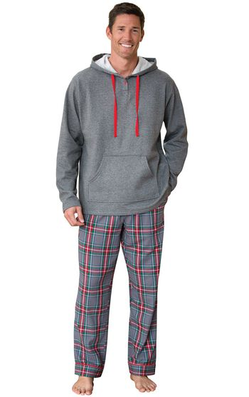 Gray Plaid Hooded Men's Pajamas