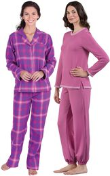 Models wearing World's Softest Jogger Pajamas - Raspberry and Raspberry Plaid Boyfriend Flannel Pajamas.