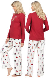 Model wearing Holiday Dog Print PJ with Graphic Tee for Women, facing away from the camera and then to the side image number 1
