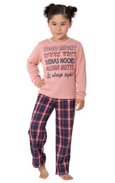 Model wearing Plum Plaid PJ with Graphic Tee for Youth image number 0
