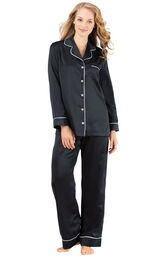 Model wearing Black Satin Button-Front PJ with Contrast Piping for Women image number 0
