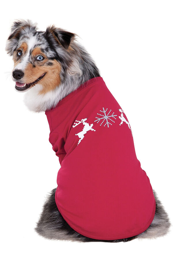 Model wearing Red and Gray Fair Isle PJ - Pet image number 0